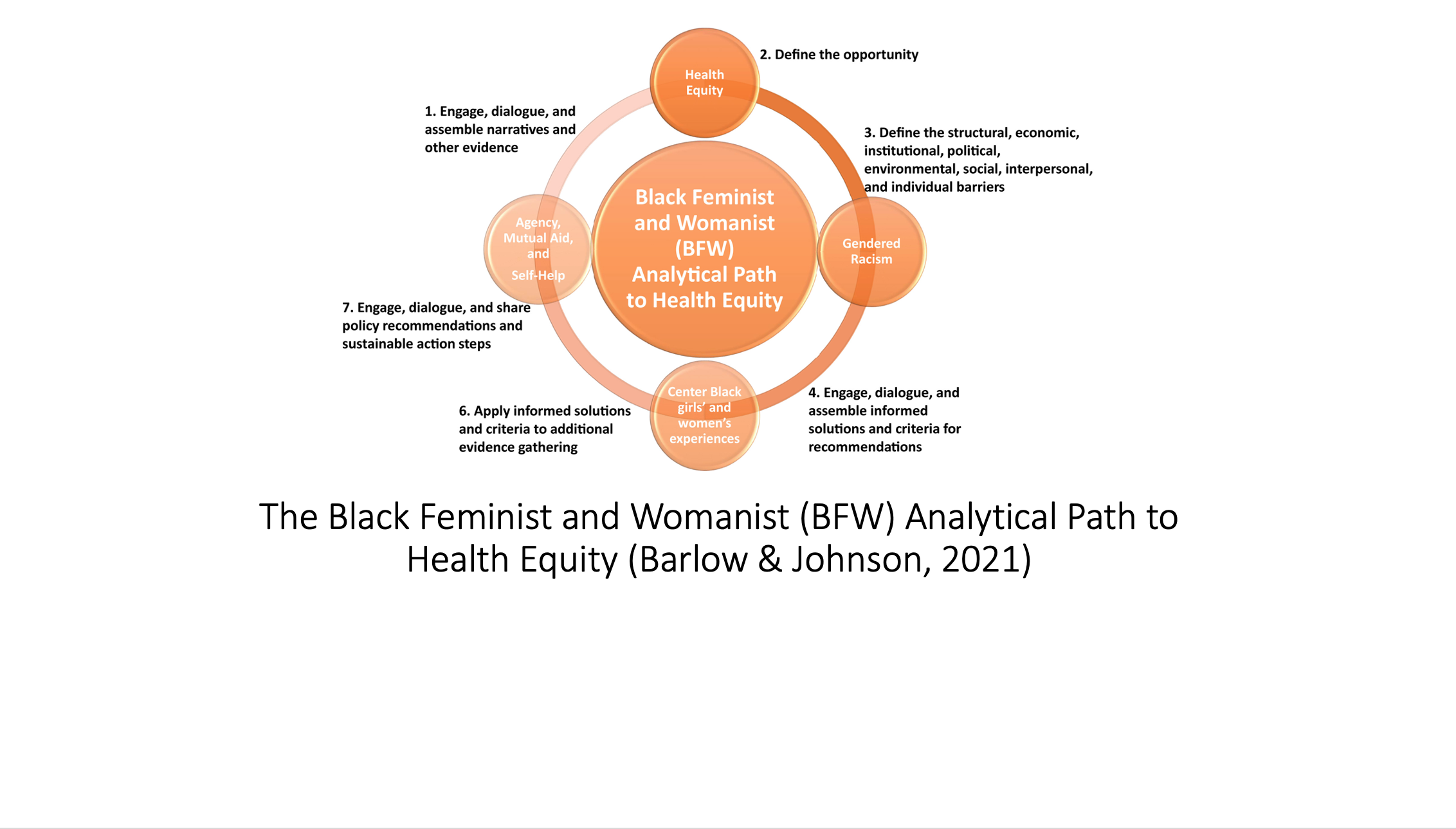 Schematic of The Black Feminist and Womanist Analytical Path to Health Equity